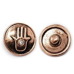 Boutons en alliage, avec des strass, boutons ronds bijoux snap plats, sans plomb & sans nickel & sans cadmium , cuivre rouge, 19x8 mm; bouton: 5 mm(SNAP-N001-08-NR)