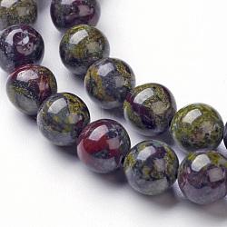 Chapelets de perle en jaspe de sang de dragon naturel, rond, 8mm, trou: 1mm; environ 46~48 pcs/chapelet, 14.96''(G-P214-05-8mm)