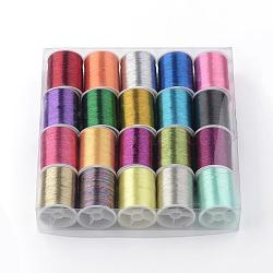 Metallic Cord for Jewelry Making, Mixed Color, 0.1mm, about 60.14 yards(55m)/roll, 20rolls/box(MCOR-R007-01-B)