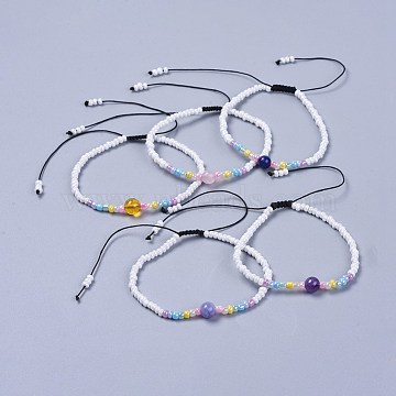 Adjustable Nylon Thread Kid Braided Beads Bracelets, with Natural Mixed Stone Round Beads and Glass Seed Beads, 1-7/8 inches(4.9cm)(BJEW-JB04371)