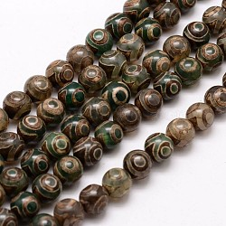 Tibetan Style 3-Eye dZi Beads Strands, Natural & Dyed Agate Beads, Round, DarkSlateGray, 8mm, Hole: 1mm; about 45pcs/strand, 14inches(X-G-A148-10-8mm)