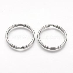 304 en acier inoxydable divisé porte-clés, conclusions de fermoir porte-clés, couleur inox, 30x3 mm(STAS-F041-33)