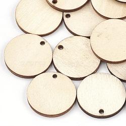 Pendentifs en bois non teint, plat rond, blé, 24.5x3mm, Trou: 2mm(WOOD-T008-13)