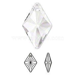strass cristal autrichien, 6320, passions de cristal, facettes, Pendentif losange, 001 _crystal, 14x9x5 mm, trou: 1 mm(X-6320-14mm-001(U))