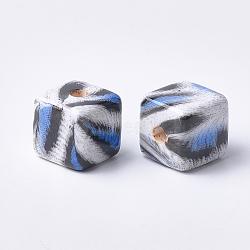 Perles acryliques imprimées, cube, bleu royal, 15x15x15mm, Trou: 3.5mm(MACR-T024-57B)