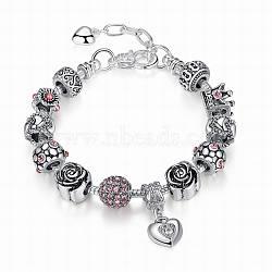 Bracelets européens en laiton, avec anciennes perles de strass en alliage d'argent, cœur, rose, 180mm(BJEW-FF0002-21-18cm)
