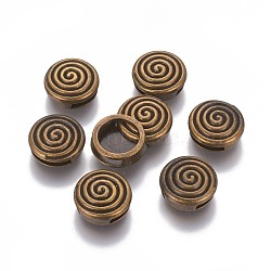 Tibetan Style Alloy Slide Charms, Flat Round with Vortex, Nickel Free, Antique Bronze, 14x5.5mm, Hole: 2x11mm(TIBEB-L004-006AB-NF)