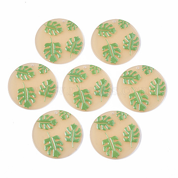 Cellulose Acetate(Resin) Pendants, 3D Printed, Flat Round with Leaf, Green, PeachPuff, 38.5x2.5mm, Hole: 1.5mm(X-KY-S163-016)