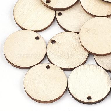 25mm Wheat Flat Round Wood Pendants