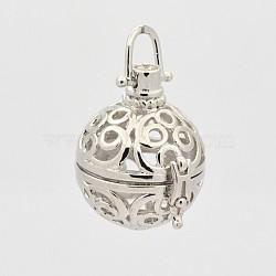 Pendentifs de cage creuse en laiton, pour la fabrication de collier pendentif boule carillon, rond, platine, 36mm, 29x27x23mm, trou: 6x6 mm; diamètre intérieur: 18 mm(KK-P141-10P)
