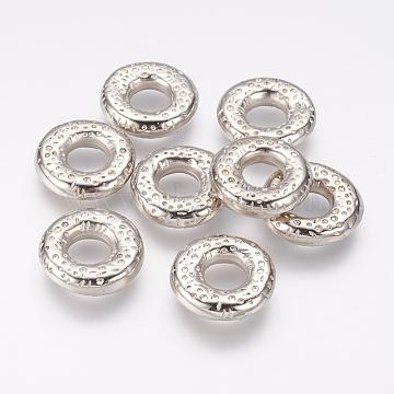 CCB Plastic Linking Rings, Flat Round, Platinum, 21x5mm, Hole: 8mm(CCB-J035-001P)