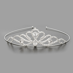 Модные свадебные кольца короны горный хрусталь для волос, свадебные диадемы, с железом и латунную основу, кристалл, 115 мм(OHAR-S194-03)