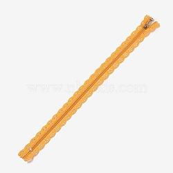 Accessoires de vêtement, fermeture à glissière en nylon, composants de fermeture à glissière, orange foncé, 34x2.4 cm(FIND-WH0013-A-19)