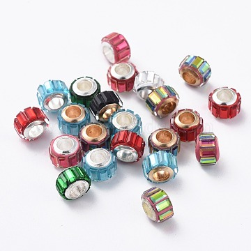 Glass European Beads, Large Hole Beads, with Alloy Cores, Column, Mixed Color, 10x7mm, Hole: 4.7~5mm(GLAA-G064-M)