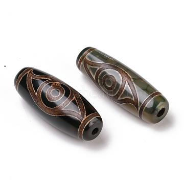 Tibetan Style dZi Beads, Natural Agate Beads, Dyed & Heated, Oval, 2-Eye, 28.5~32x10~12.5mm, Hole: 1.5~3mm(TDZI-E004-01)
