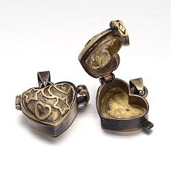 Crémaillère en laiton placage boîte de prière pendentifs, boîte souhaiter, sans nickel  , coeur sculpté, bronze antique, 18x23x11mm, Trou: 5x3mm(KK-E738-03AB-NF)