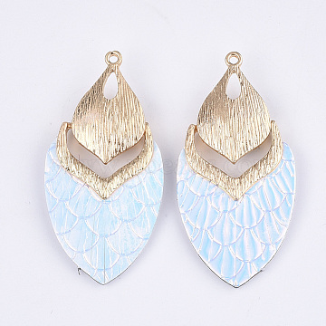 PU Leather Big Pendants, with Golden Plated Alloy Findings, Teardrop, AliceBlue, 61x30.5x7mm, Hole: 2mm(X-FIND-S299-43G)
