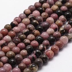 Chapelets de perles en rhodonite naturelle, rond, 6mm, trou: 1mm; environ 61 pcs/chapelet, 14.9''~15.1''(G-G735-10-6mm)