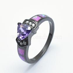 anneaux cubiques en zircone, avec opale synthétique et laiton, plaqué longue durée, triangle, taille 7, mauve, bronze, 17 mm(RJEW-O029-02B-A)