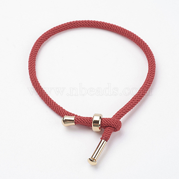 Cotton Twisted Cord Bracelet Making, with Stainless Steel Findings, Golden, FireBrick, 9inches~9-7/8inches(23~25cm); 3mm(X-MAK-L012-04)