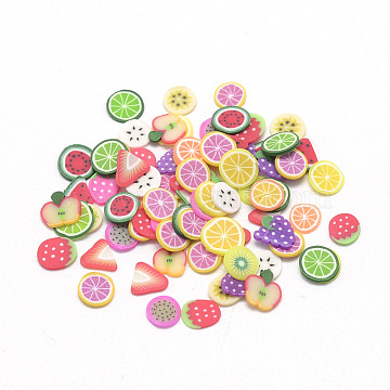 Handmade Polymer Clay Cabochons, No Hole, Fruit, Mixed Color, 4~6x4~6x0.3~0.8mm(X-CLAY-Q242-08A)