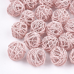 Perles de fil de fer environnementales peintes par pulvérisation, rond, rose, 15~17mm(IFIN-T009-10G)