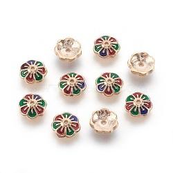 Or Léger Coloré Alliage + Émail Cages à perles(ENAM-F095-06KCG-01)