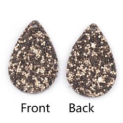 Pendentifs en cuir pu, avec des paillettes, larme, marron, 39x25x2mm, Trou: 1.5mm(X-FIND-T020-026D)