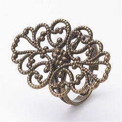 Supports de bague en filigrane en laiton, fleur, taille 7, bronze antique, plateau: 30x20 mm; 17 mm(KK-D527-02)