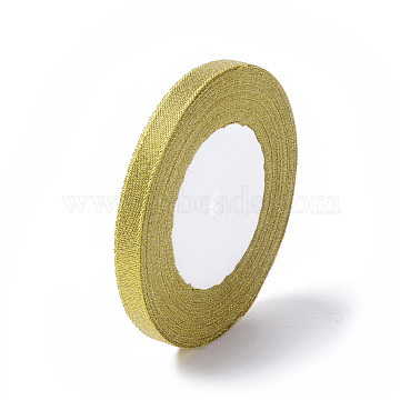 Glitter Metallic Ribbon, Sparkle Ribbon, DIY Material for Organza Bow, Double Sided, Golden, Size: about 3/8inch(10mm) wide, 25yards/roll(22.86m/roll)(X-RS10mmY-G)