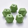 Lime Green Polygon Wood Beads(X-WOOD-Q040-020B-A05)