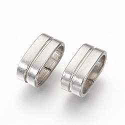 304 Stainless Steel Slide Charms, Oval, Stainless Steel Color, 5x12x6.5mm, Hole: 4.5x10mm(X-STAS-G187-32P)