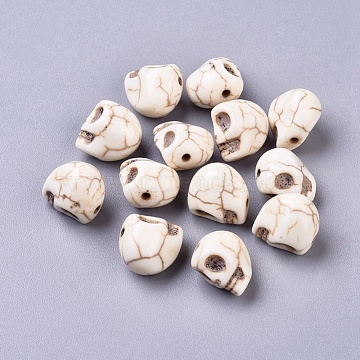 Synthetic Magnesite Beads, Halloween, Skull, Dyed, Floral White, 12x10mm, Hole: 1mm(X-TURQ-G894-2)