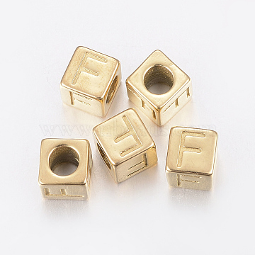 304 Stainless Steel Large Hole Letter European Beads, Cube with Letter.F, Golden, 8x8x8mm, Hole: 5mm(X-STAS-H428-01G-F)