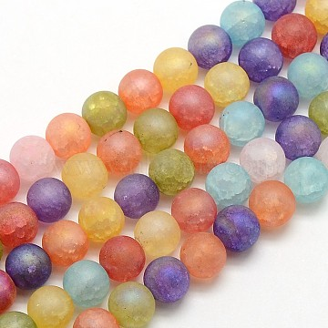 Electroplate AB Color Plated Frosted Synthetic Crackle Quartz Round Beads Strands, Dyed, Mixed Color, 8mm, Hole: 1mm; about 54pcs/strand, 16.14inches(G-L155-8mm-10)