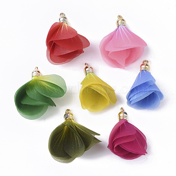 Organza Fabric Pendants, with CCB Plastic, Flower, Mixed Color, 41.5~47x24.5~39.5mm, Hole: 2mm(X-FIND-T061-001)
