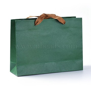 Kraft Paper Bags, Gift Bags, Shopping Bags, with Cotton Cord Handles, Sea Green, 26.9x20x0.25cm(CARB-WH0009-02)
