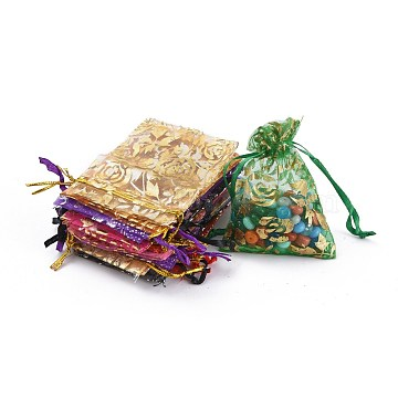 Printed Organza Bags, Gift Bags, Rectangle, Mixed Color, 9x7cm(X-OP-R024-7x9-M)