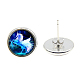 Picture Glass Stud Earrings(EJEW-O088-62)-2