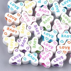 Perles européennes en acrylique, Perles avec un grand trou   , papillon avec mot amour, couleur mixte, 10.5x15x6.5mm, Trou: 4mm(X-MACR-T023-14)