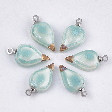 Handmade Porcelain Pendants, Bright Glazed Porcelain, with Brass Findings, Teardrop, Platinum, MediumAquamarine, 17~18x8~9x4~5mm, Hole: 1.5mm(PORC-T002-20)