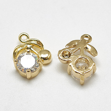 Real Gold Plated Clear Cherry Brass+Cubic Zirconia Charms