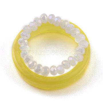 Stackable Finger Ring Sets, with Acrylic Plain Band Rings and Stretch Transparent Acrylic Rondelle Beaded Finger Rings, Yellow, US Size 6 3/4, Inner Diameter: 17mm, 2pcs/set(RJEW-H130-A01)