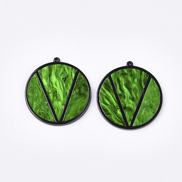 Cellulose Acetate(Resin) Big Pendants, Flat Round with Word V, Green, 50x47x3mm, Hole: 1.8mm(X-KY-S158-52A)