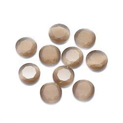 кабошоны кошачьего глаза, граненый, плоские круглые, загар, 9.5x2.5~3.5 mm(G-G795-08-03)