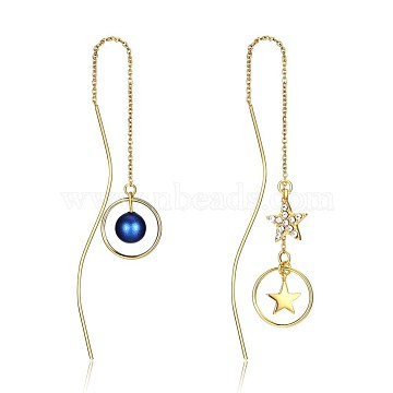 925 Sterling Silver Dangle Earrings, with Austrian Crystal and Shell Pearl, Star and Round, PrussianBlue, Golden, 001_Crystal, 120x12mm(EJEW-BB33798)