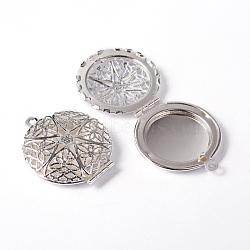 Rond plat en laiton filigranes creux pendentifs diffuseur médaillon, argenterie, 32x27mm, Trou: 2mm(X-ECF134-2S)