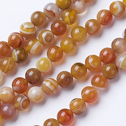 Natural Grade A Striped Agate/Banded Agate Beads Strands, Dyed & Heated, Round, Peru, 10mm, Hole: 1.2mm; about 47pcs/strand, 14.9''(38cm)