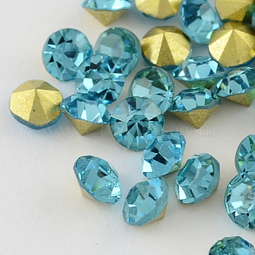 Vintage Grade A Glass Pointed Back Chaton Rhinestones, Back Plated, Diamond, Aquamarine, 2.1mm(X-RGLA-PP15-07A)