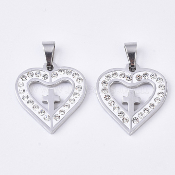 201 Stainless Steel Pendants, with Random Size Snap On Bails and Polymer Clay Crystal Rhinestones, Heart with Cross, Stainless Steel Color, 21x20x3mm, Hole: 8~10x3~5mm(X-STAS-N089-21P)